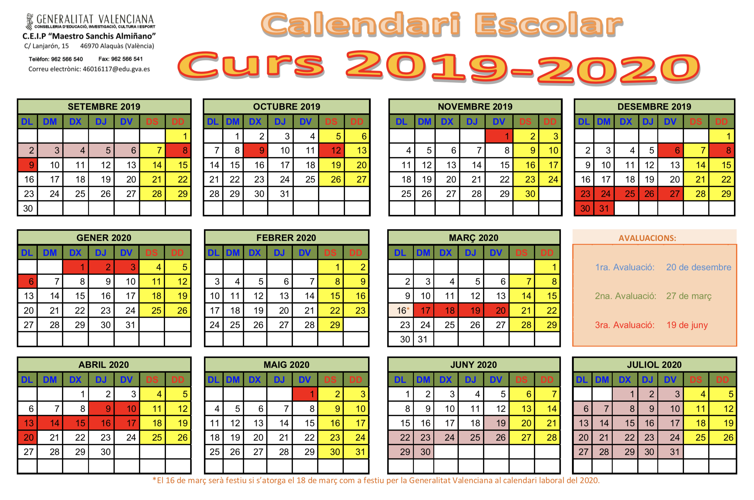 Calendario Laboral 2020 Valencia Pdf.Calendari Escolar 2019 2020